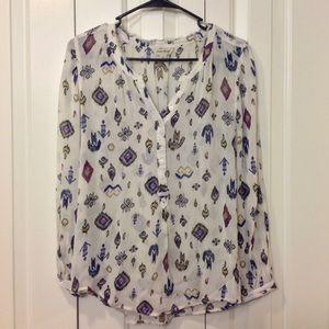 Lucky Brand sheer patterned blouse